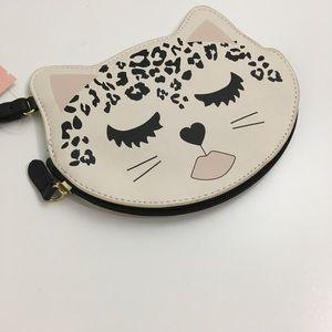 Betsey Coin Wallet Makeup Purse Wristlet CAT NEW